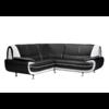 Canapés angle design cuir noir blanc CLOE.1