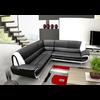 Canapés angle design cuir noir blanc CLOE