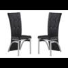 Lot de chaises chromé capitonné cuir noir ZEA.1