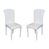 Lot de chaises laqué cuir croco blanc SLY.1