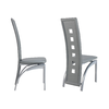 Lot de chaises métal simili cuir gris LINE.1