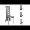 Lot de chaises métal simili cuir gris LINE