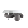 Table basse 2 poufs gris CLOE