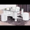 Table basse 4 poufs blanc CORA