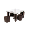 Table basse 4 poufs choco CORA