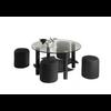 Table basse 4 poufs noir CLOE.1