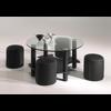 Table basse 4 poufs noir CLOE