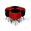 Table repas verre + 4 chaises rouge SPACE