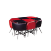Table repas verre + 6 chaises rouge SPACE