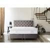 Lit coffre + tête de lit capitonnée 160x200 KARYA Taupe
