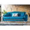 Canapé lit tissu daim bleu VALS-3