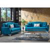 Canapé lit tissu daim bleu VALS-1