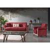 Canapé lit tissu daim rouge DECO