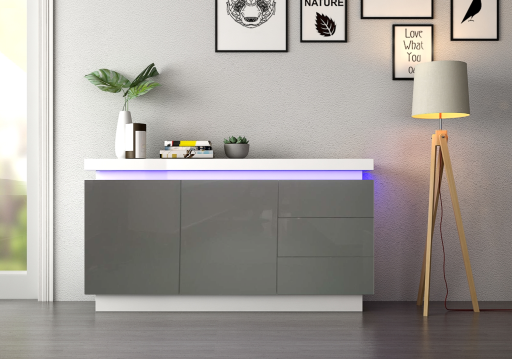 Buffet laqué blanc gris LED OPRA.5