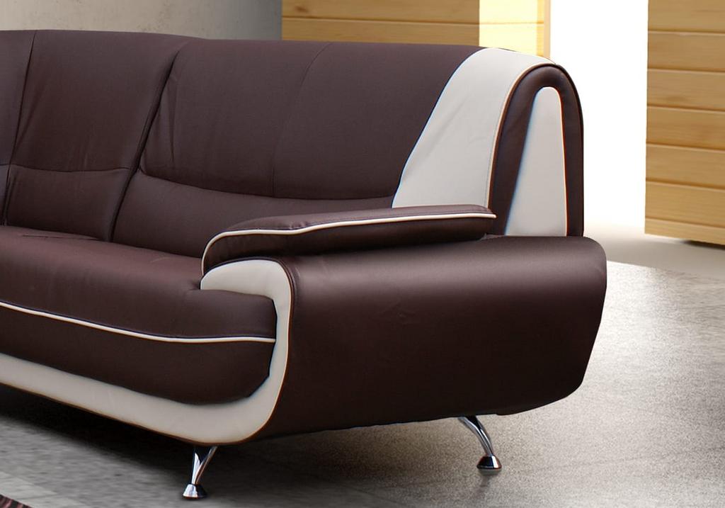 Canapés angle design cuir choco CLOE.2