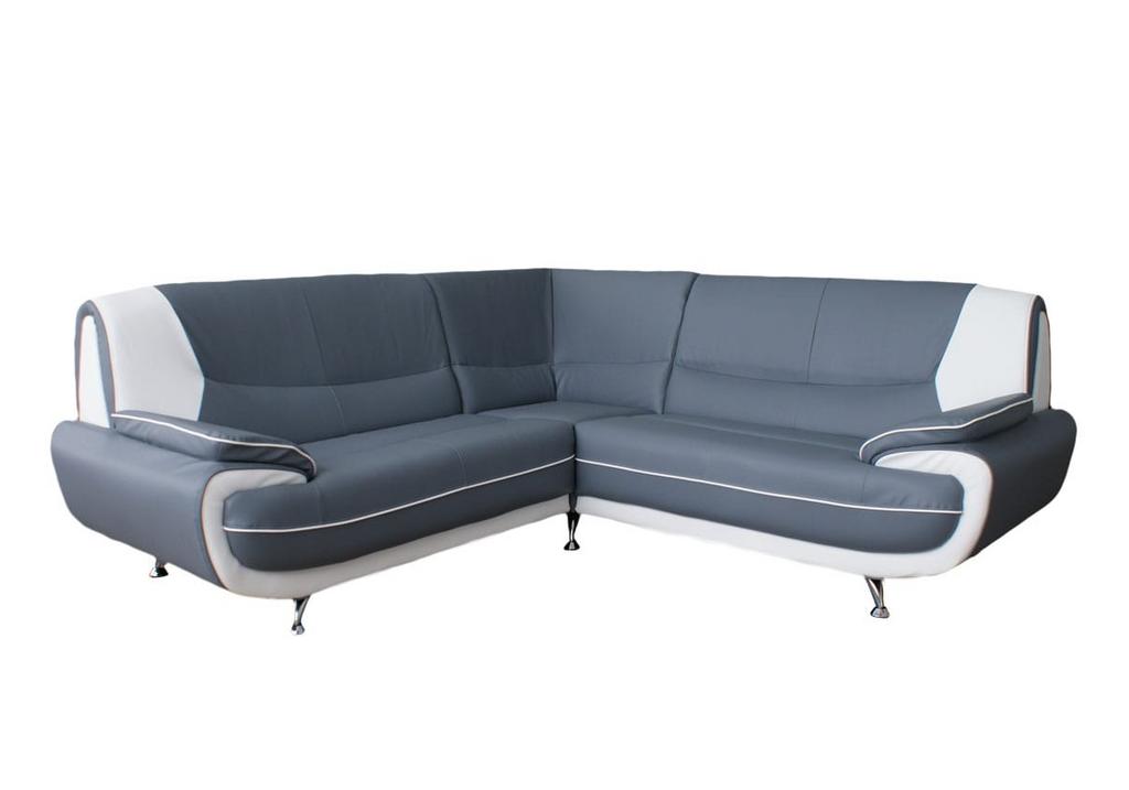 Canapés angle design cuir gris blanc CLOE.1