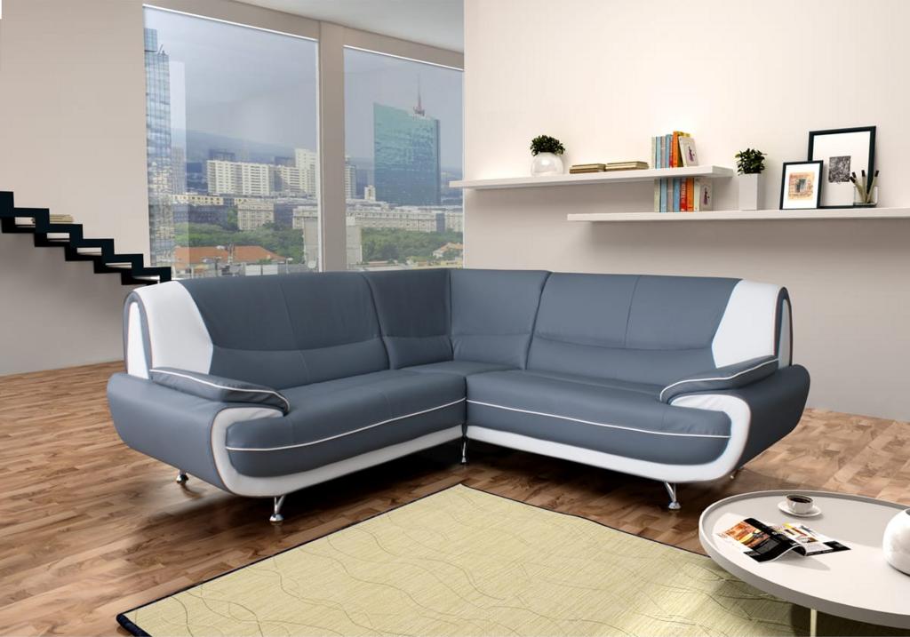 Canapés angle design cuir gris blanc CLOE