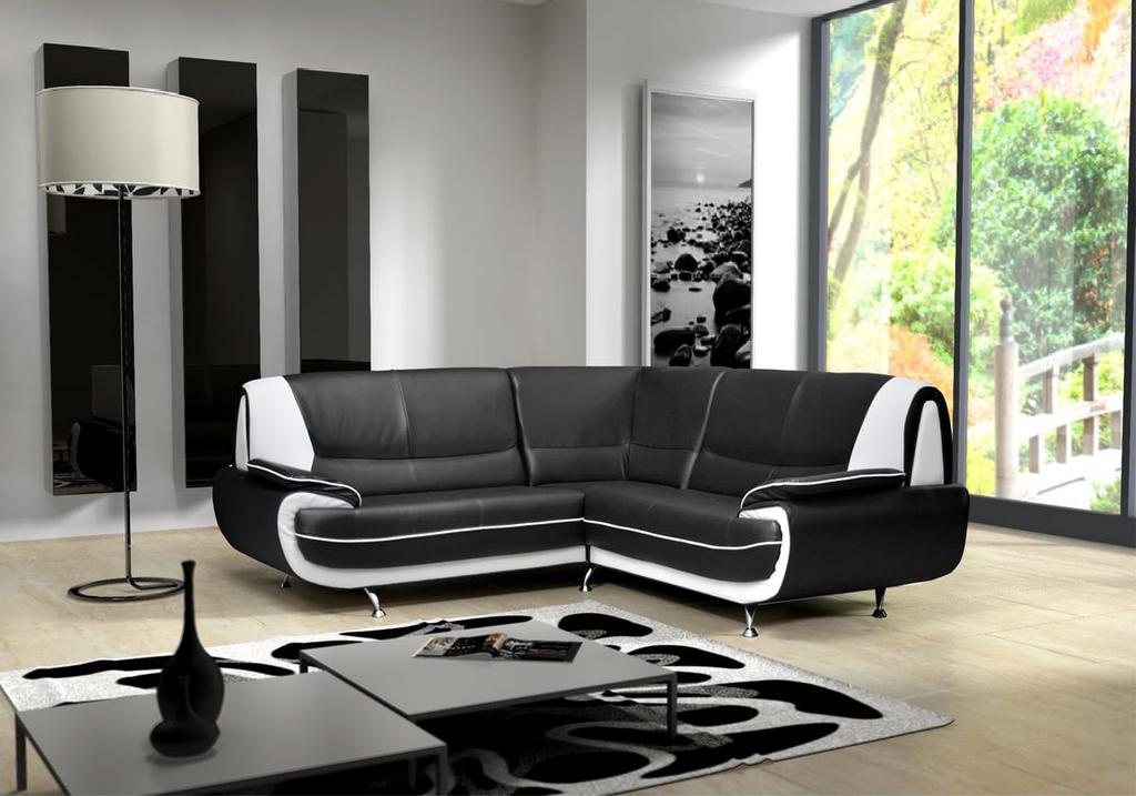 Canapés angle design cuir noir blanc CLOE.2