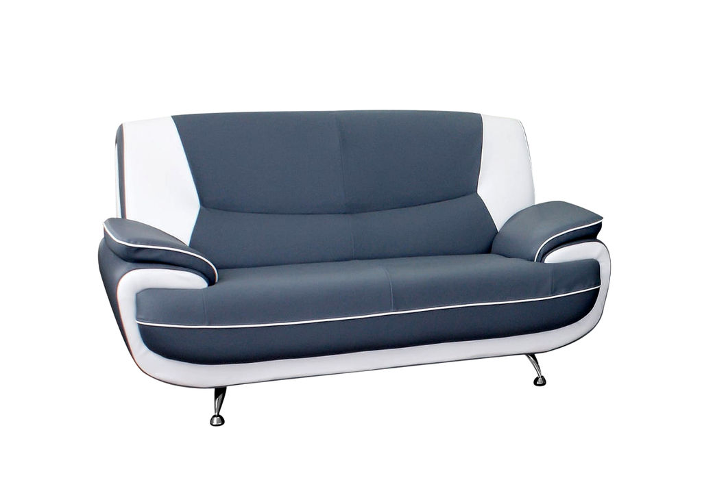 Canapés design 3+2 cuir gris blanc CLOE.2