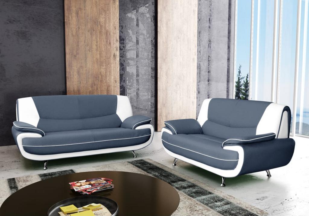 Canapés design 3+2 cuir gris blanc CLOE.3