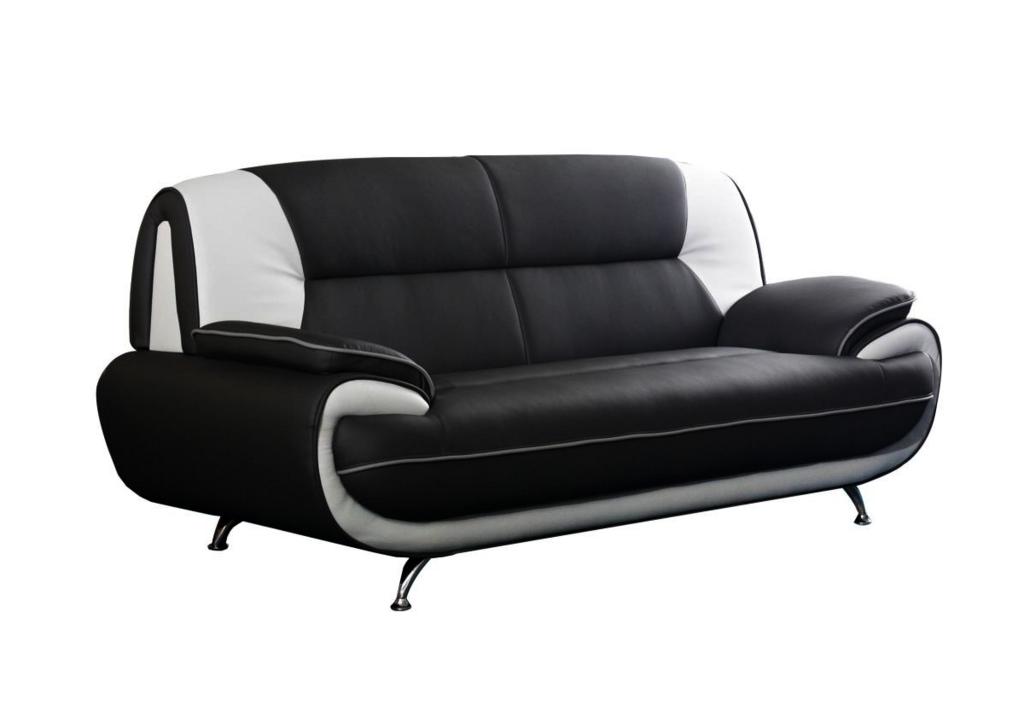Canapés design 3+2 cuir noir blanc CLOE.1