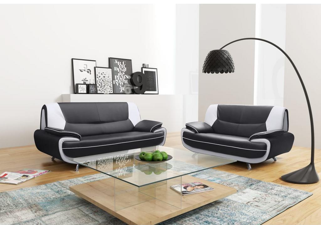 Canapés design 3+2 cuir noir blanc CLOE.5