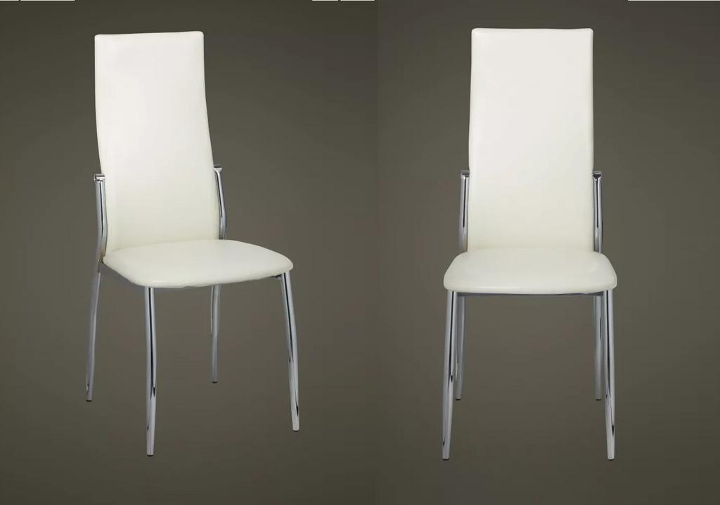 Lot de 4 chaises chromé cuir blanc BEA.2
