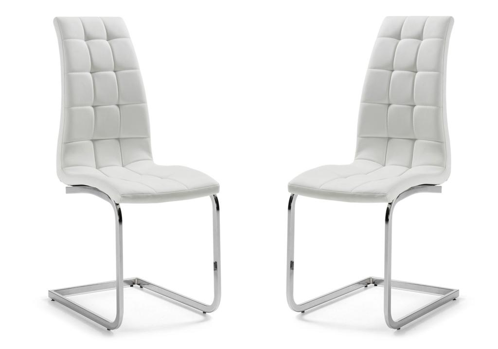 Lot de chaises chromé capitonné cuir blanc SIA