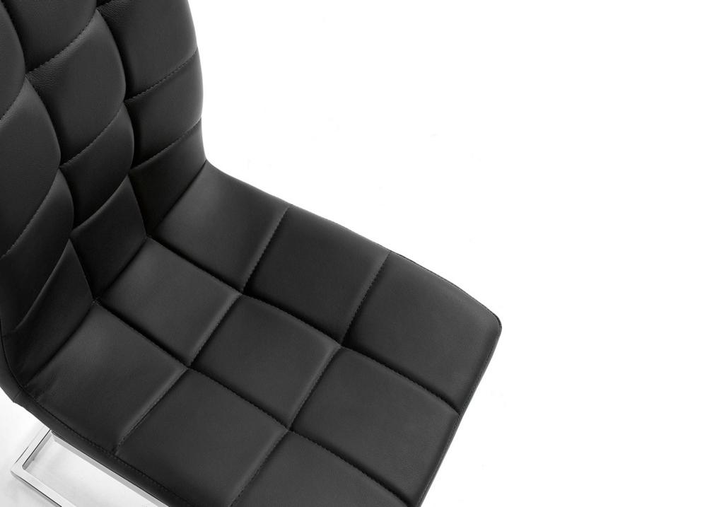 Lot de chaises chromé capitonné cuir noir SIA.2