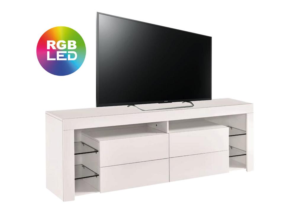 Meuble Tv laqué blanc LED OVA.3