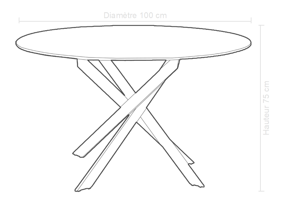 Table à manger ronde chromé DESIGN