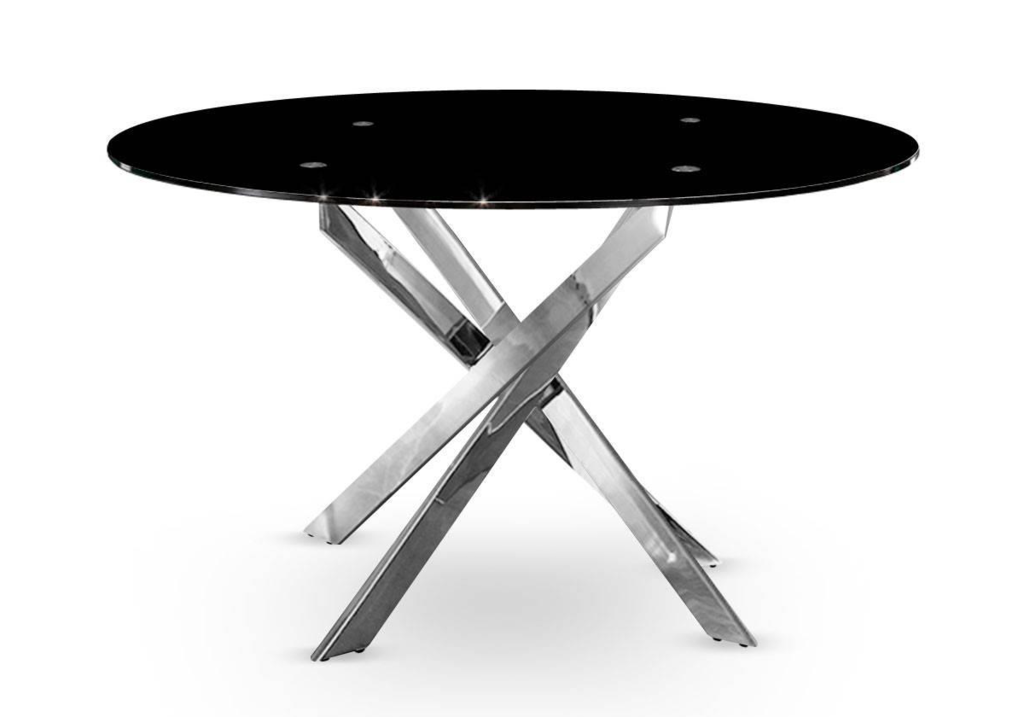 Table à manger ronde chromé noir DESIGN
