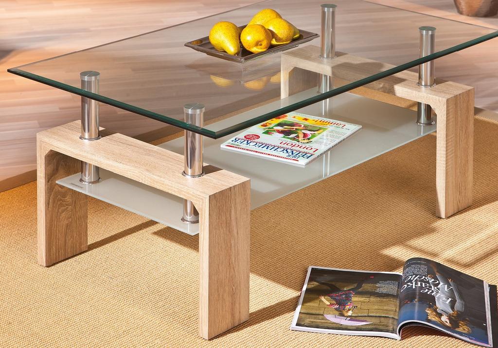 Table basse chêne verre trempé TOE.2