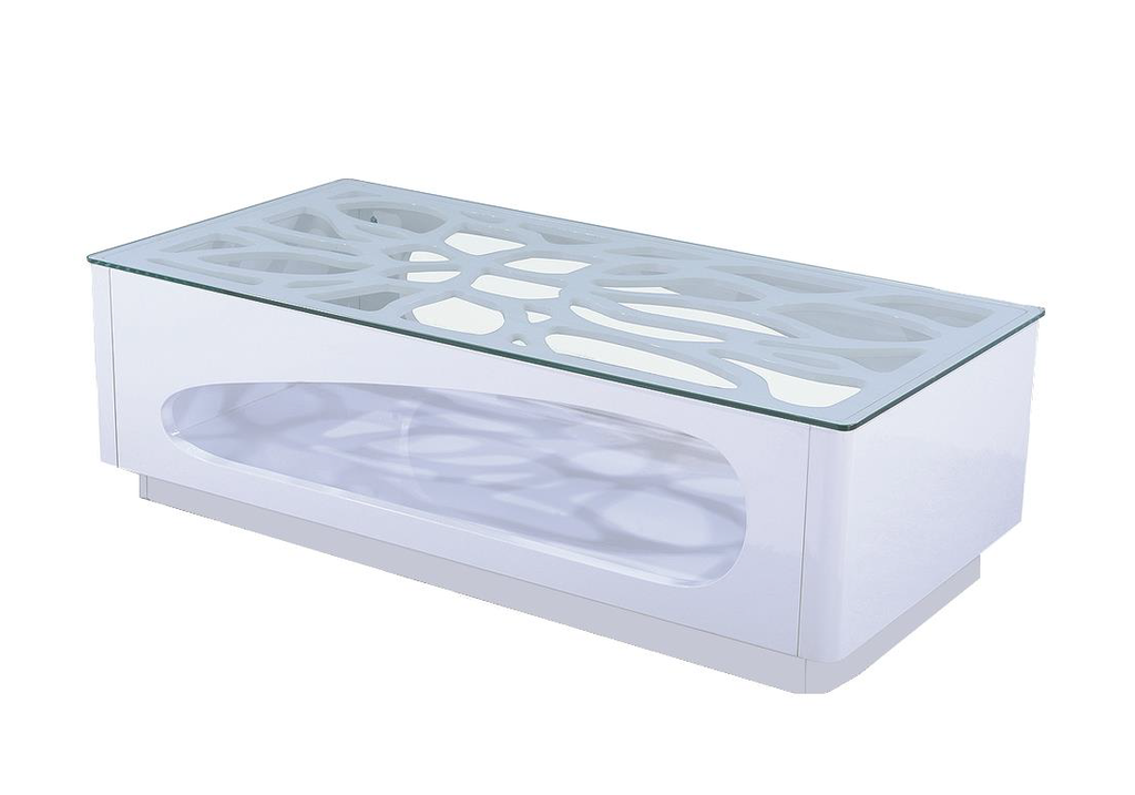 Table Basse Blanche Verre.Table Basse Laque Blanc Verre Trempe Flo