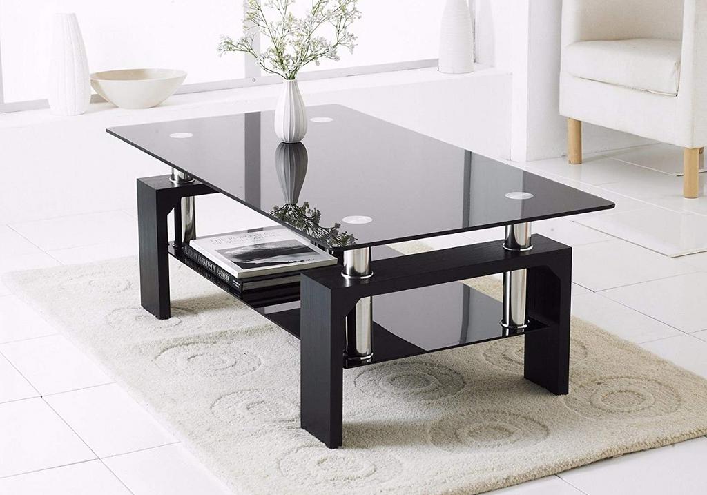Table basse laqué noir verre trempé noir TOE.2