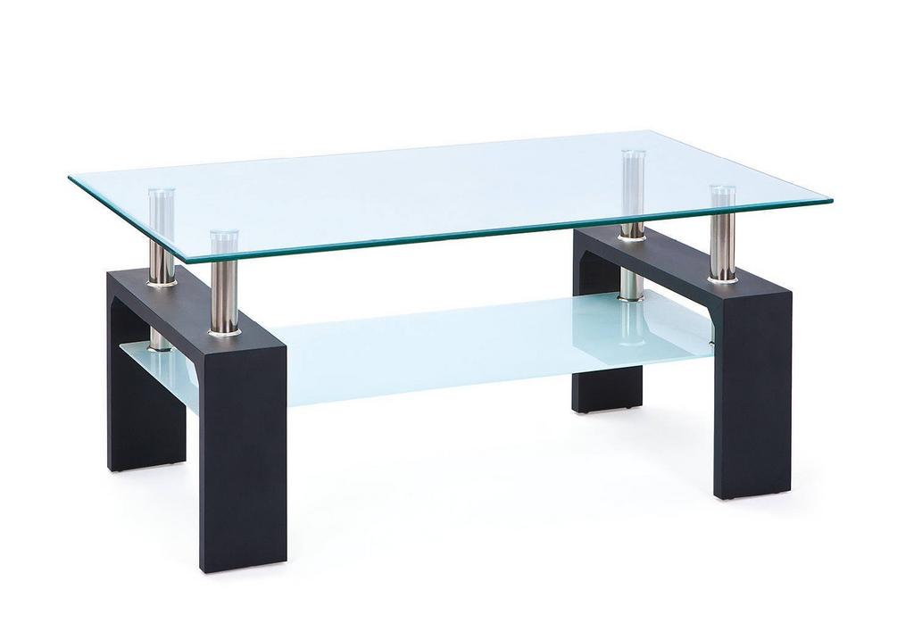 Table basse laqué noir verre trempé TOE.1