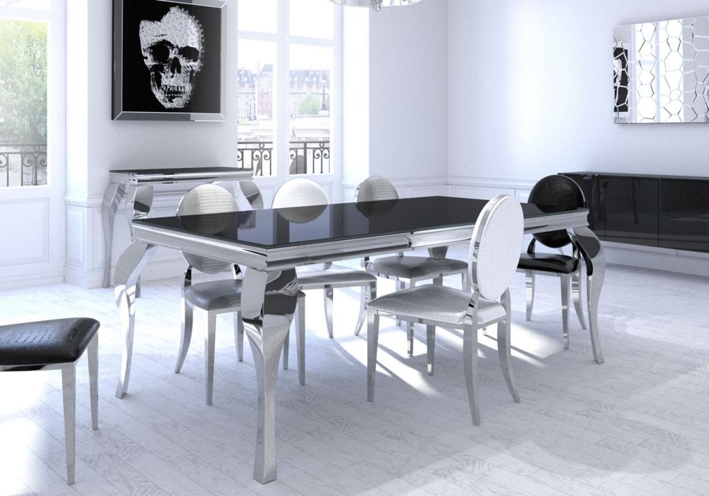 Table repas baroque chromé NEO.3