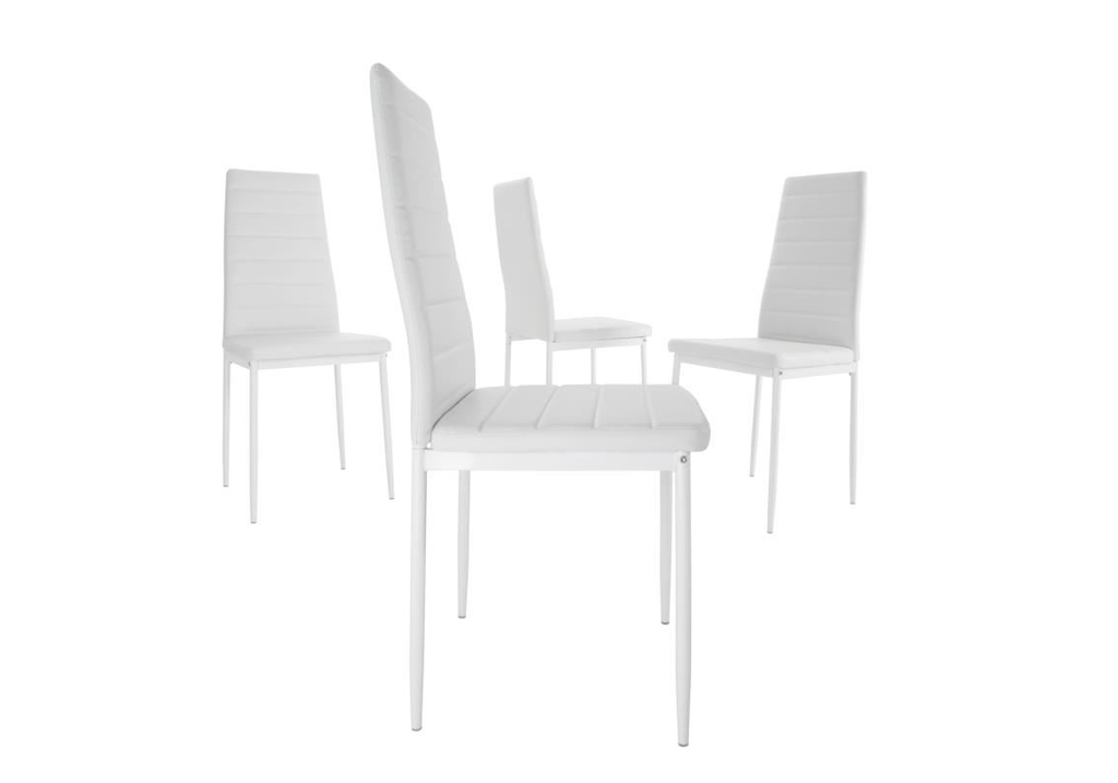 Table repas verre + 4 chaises blanc CONFO.2