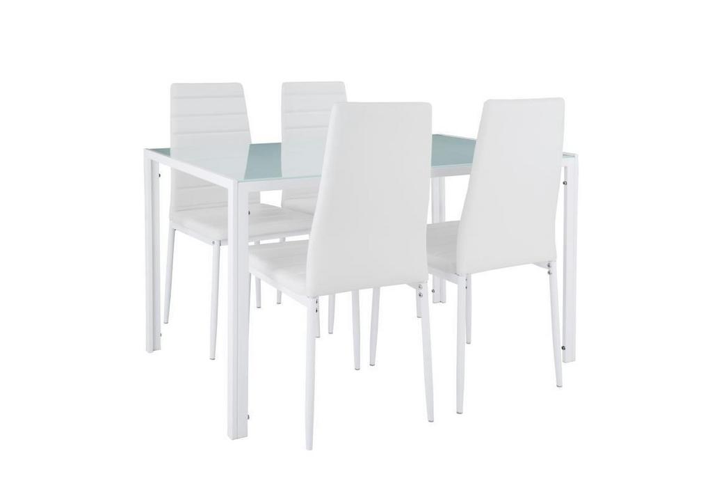 Table repas verre + 4 chaises blanc CONFO.3