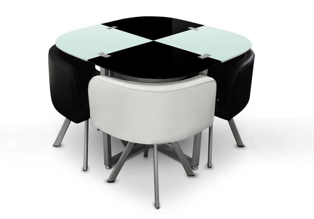 Table repas verre + 4 chaises noir SPACE