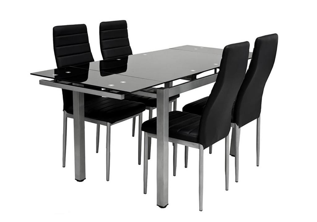 Table verre extensible + 4 chaises noir FLY