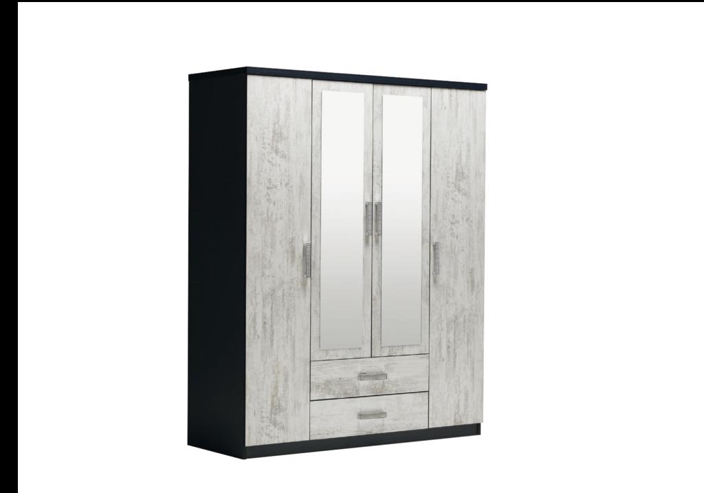 armoire-4-portes-2-tiroirs-noir-bois-blanci-ibiza