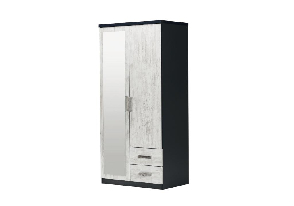 armoire-2-portes-2-tiroirs-noir-bois-blanci-ibiza