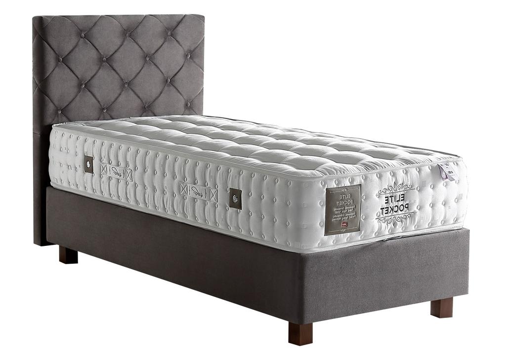 Lit coffre + tête de lit + matelas 90x190 ÉLITE POCKET-KARYA Taupe.1