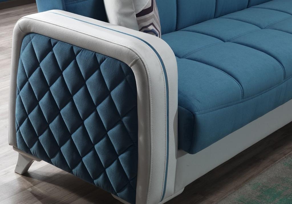 Canapé angle lit coffre velours bleu ÉLITE-1