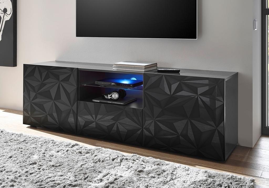 Ensemble meuble tv laqué gris PRISMA.3.2
