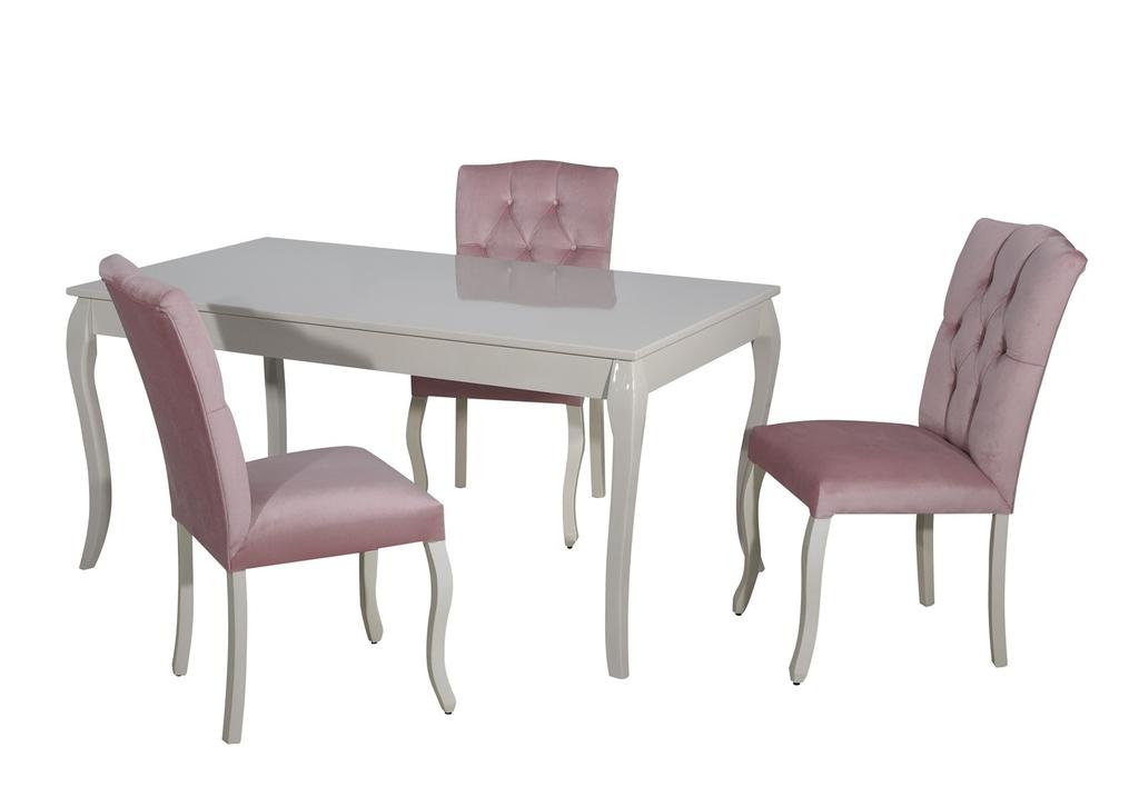 Table repas 4 chaises rose BAROK-1