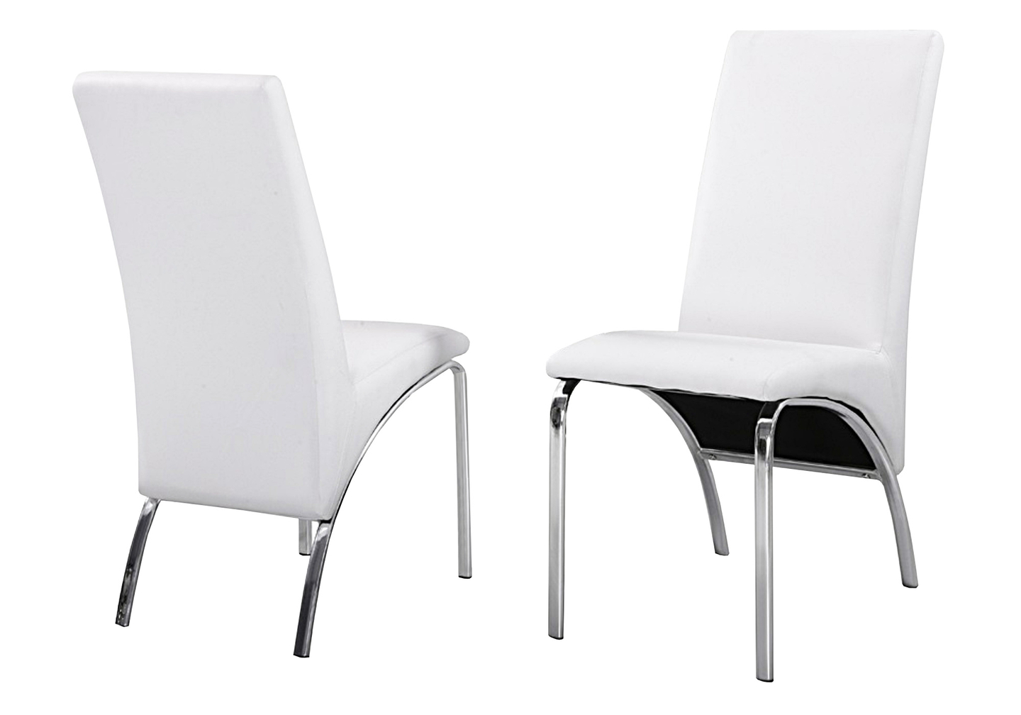 Lot 4 chaises chromé simili blanc ROY.2
