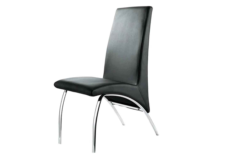 Lot 4 chaises chromé simili noir ROY.1