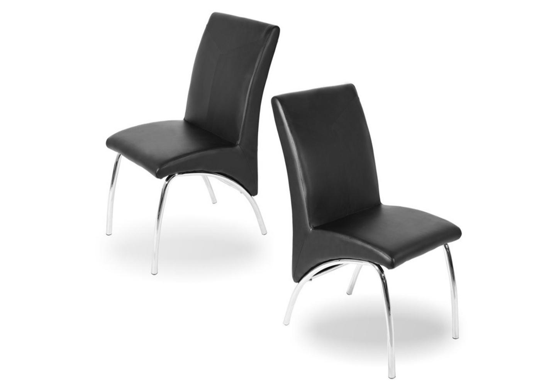 Lot 4 chaises chromé simili noir ROY